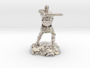 Varis, the Half Elf Fighter Spy in Rhodium Plated Brass
