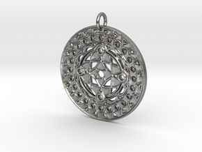 Cathedral Mandala Pendant in Natural Silver