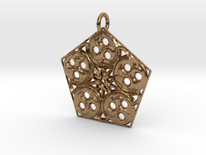 Pentagon Swirls Mandala Pendant in Natural Brass