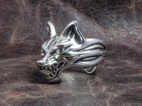 "Fox (Oinari san) ""orb"" Ring in Polished Silver"