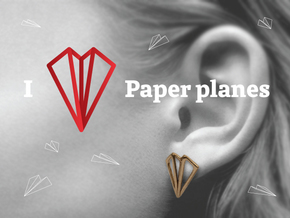 Paper Plane -earrings in Natural Brass