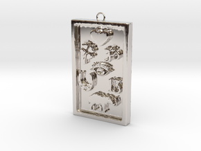 Rectangle Good Luck Pendant in Rhodium Plated Brass