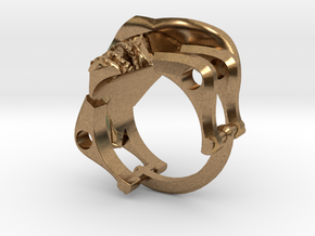 Silver Cowboy Skull Ring in Natural Brass