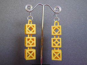 Blocks Earrings in Yellow Processed Versatile Plastic