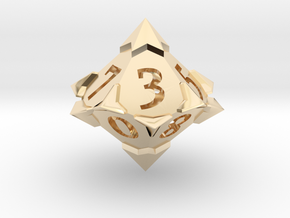 'Starry' D10 balanced die  in 14k Gold Plated Brass