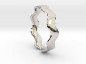 MEDIUM WAVE Ring in Rhodium Plated Brass