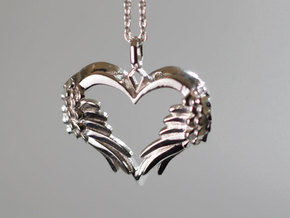 Winged Heart Pendant in Polished Silver