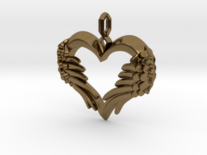 Winged Heart Pendant in Polished Bronze