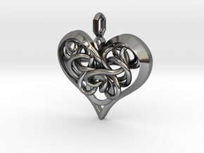 Tied Heart Pendant in Fine Detail Polished Silver