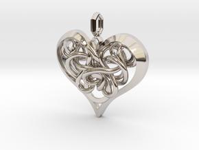 Tied Heart Pendant in Platinum
