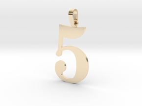 5 Number Pendant in 14K Gold