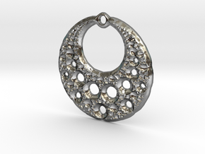 Fractal Pendant Crescent Moon in Polished Silver