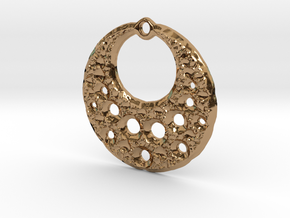Fractal Pendant Crescent Moon in Polished Brass