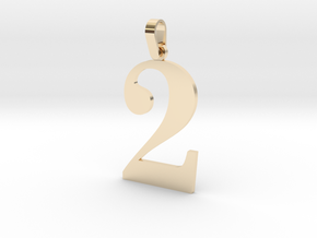 2 Number Pendant in 14K Gold