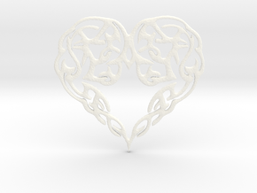 Heart Knot Amulet in White Processed Versatile Plastic