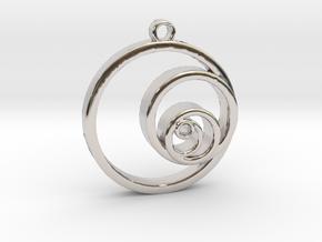 Fibonacci Circles Necklace in Rhodium Plated Brass