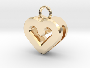Resonant Heart Keychain in 14k Gold Plated Brass