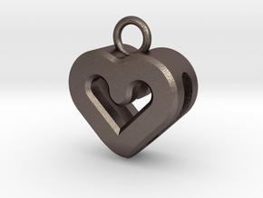Resonant Heart Keychain in Polished Bronzed Silver Steel