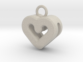 Resonant Heart Keychain in Natural Sandstone