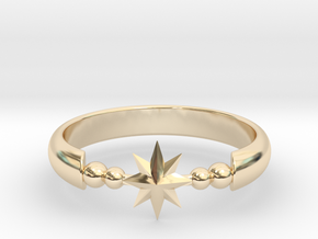 Ring of Star 20.6mm  in 14k Gold Plated Brass