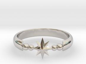 Ring of Star 20.6mm  in Rhodium Plated Brass