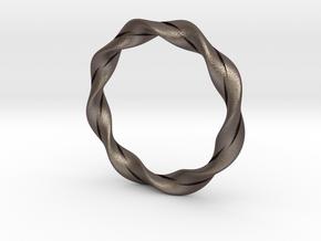 Twisted Bracelet  in Polished Bronzed Silver Steel