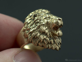Aggressive Lion Ring in Polished Brass: 11.5 / 65.25
