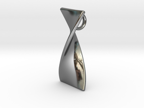 Twisty 180 polished pendant 3cm tall in Fine Detail Polished Silver