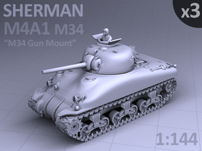 SHERMAN M4a1 (M34 Gun) TANK - (3 pack) in Smooth Fine Detail Plastic