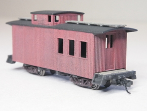 HOn30 25 foot Caboose B in White Natural Versatile Plastic