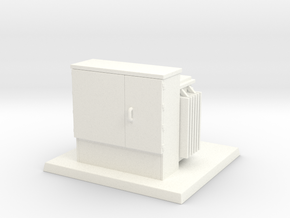 Padmount Transformer 01. HO Scale (1:87) in White Processed Versatile Plastic