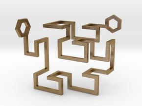 Gosper Pendant 3D in Polished Gold Steel