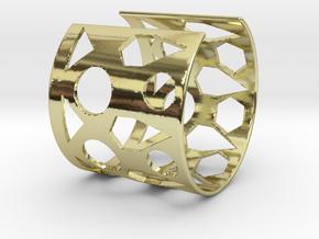Cubic Bracelet Ø68 Mm/Ø2.677 inch Style A Large in 18k Gold Plated Brass