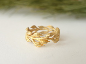 Vine Band -  Size 6.5 in Polished Gold Steel