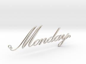 Weekday Pendants - Monday in Rhodium Plated Brass
