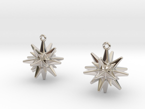Christmas_Star Earrings  in Rhodium Plated Brass