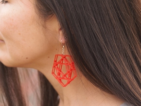 Penta Plaid Earring Pair in Red Processed Versatile Plastic