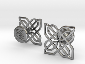 CELTIC KNOT CUFFLINKS 021216 in Fine Detail Polished Silver