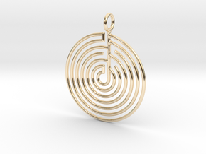mystery little labyrinth Pendant in 14K Yellow Gold