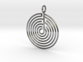 mystery little labyrinth Pendant in Fine Detail Polished Silver