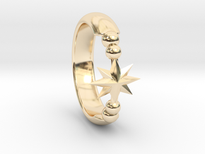 Ring of Star 14.5mm in 14k Gold Plated Brass