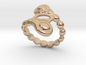 Spiral Bubbles Ring 21 - Italian Size 21 in 14k Rose Gold Plated Brass