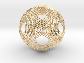 Icosahedron vertex symmetry weave 2 in 14k Gold Plated Brass