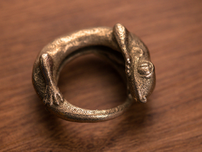 (Size 14) Gecko Ring in Polished Bronzed Silver Steel