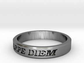 Carpe Diem US Size 10 Ring in Fine Detail Polished Silver