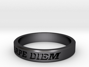 Carpe Diem US Size 10 Ring in Polished and Bronzed Black Steel