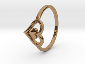 Heart Ring Size 5.5 in Polished Brass
