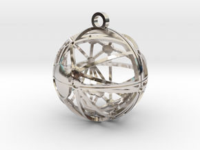 Craters of Mimas Pendant in Rhodium Plated Brass
