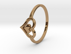 Heart Ring Size 7 in Polished Brass