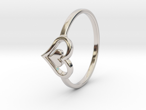Heart Ring 7.5 in Rhodium Plated Brass
